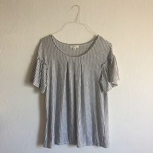 Black and White Striped Blouse Women's Top